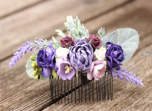 Flower hair comb Purple floral hair clip Magenta wedding comb lilac